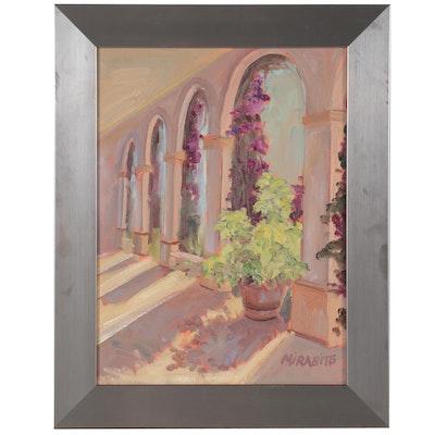 "Mary Mirabito Oil Painting ""Arches at Royal Palm,"" 2019"
