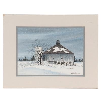 "Nancy Gross Lithograph ""Octogon Barn, Ozaukee County, Wisconsin"""