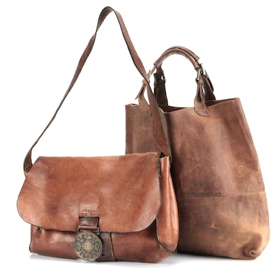 Distressed Leather Satchel and Tote Bag