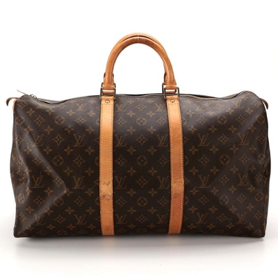 Louis Vuitton Keepall 50 Duffel Bag in Monogram Canvas and Vachetta Leather