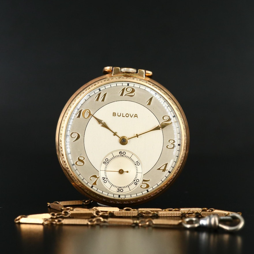 1945 Bulova Open Face Pocket Watch with Chain Fob