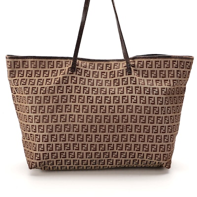 Fendi Zucca Brown Canvas and Leather Tote