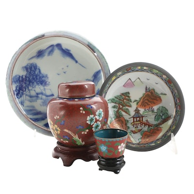 Chinese Cloisonné Ginger Jar and Teacup, and Other Bucolic Scene Porcelain Bowls