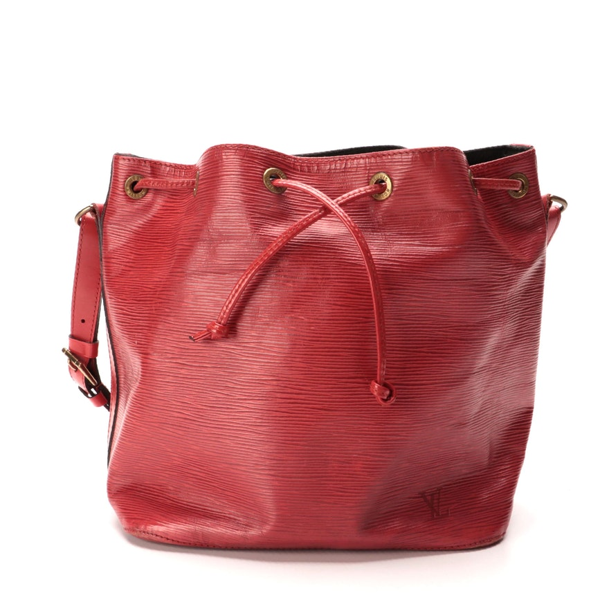 Louis Vuitton Noé Drawstring Bucket Bag in Red Epi and Smooth Leather