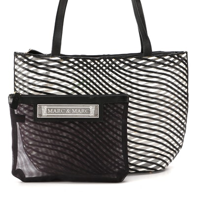 Marc & Marc by Sharif Mesh Tote with Leather Trim and Accessory Pouch