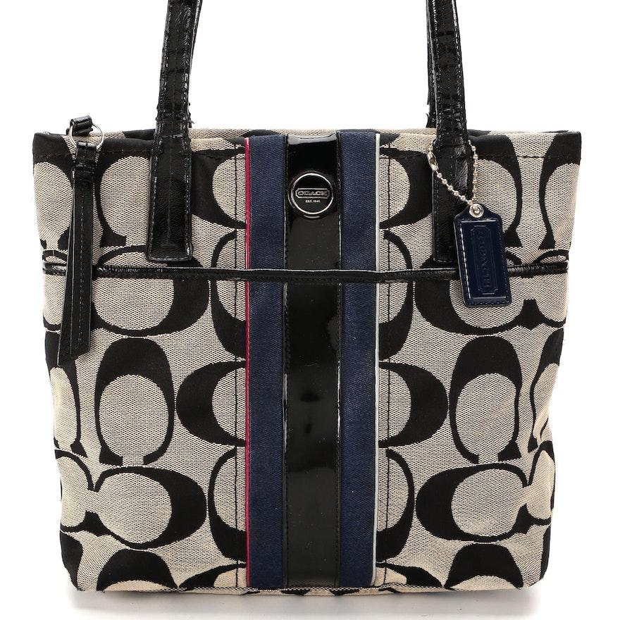 Coach Multi-Stripe Shoulder Bag in Signature Canvas and Black Patent Leather