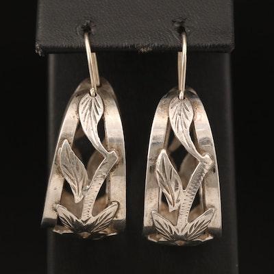 Mexican Sterling Foliate Hoop Earrings