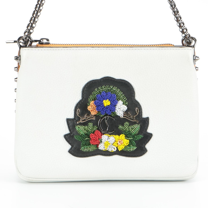Christian Louboutin Floral Beaded and Studded Leather Shoulder Bag