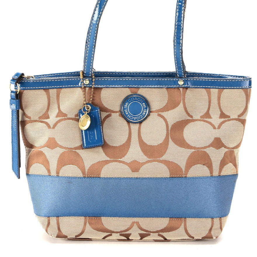 Coach Stripe Shoulder Bag in Signature Canvas and Blue Patent Leather