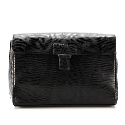 Tiffany & Co. Black Lizard Embossed Leather Clutch