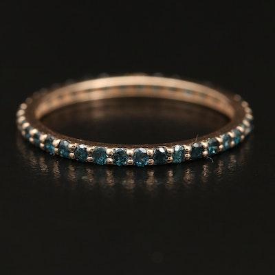 14K Stackable Blue Diamond Eternity Band
