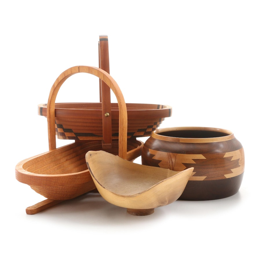 Artisan Collapsible Baskets and Bowls Including Robert Clark Turned Bowl