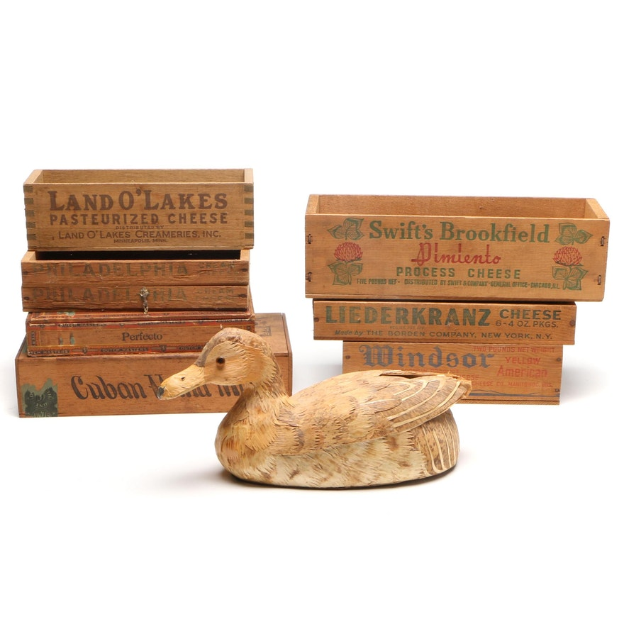 Cigar and Cheese Advertising Boxes with Husk-Covered Wooden Duck