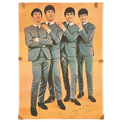 """1960s """"The Beatles Fan Club"""" Large-Scale Promotional Poster"""