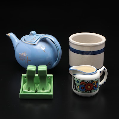 Hall Pottery Ceramic Airflow Ball Teapot, and Other Tableware, Mid-20th Century