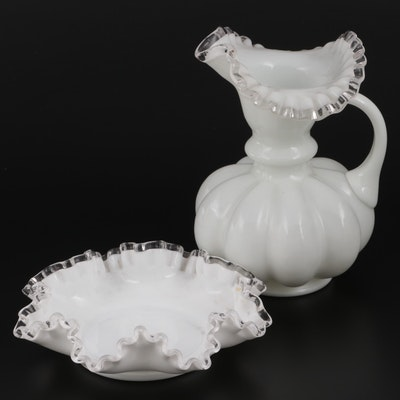 Fenton Style Silver Crest Pitcher and Ruffled White Glass Candy Bowl