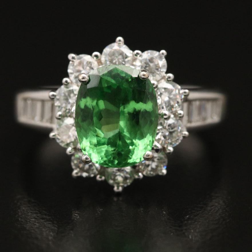 18K 2.66 CT Tsavorite and 1.00 CTW Diamond Ring