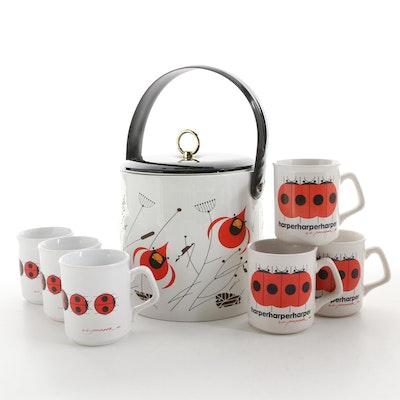 Charley Harper Cardinal Print Ice Bucket and Ladybug Print Mugs