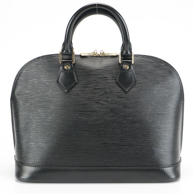 Louis Vuitton Alma PM Top Handle Bag in Black Epi and Smooth Leather