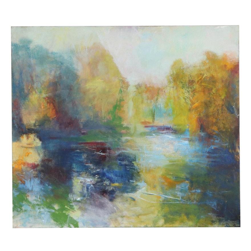 "Mark Whitmarsh Mixed Media Painting ""Fall River Passage,"" 2019"