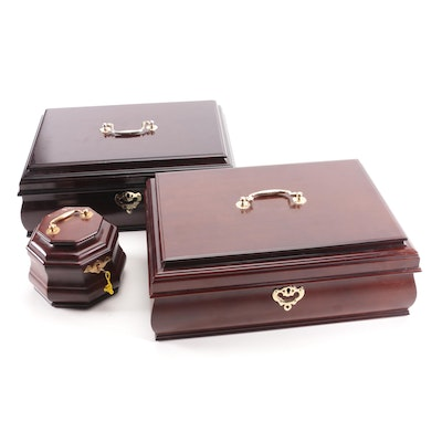 Chippendale Style Mahogany Jewelry Boxes and Octagonal Box, Late 20th Century