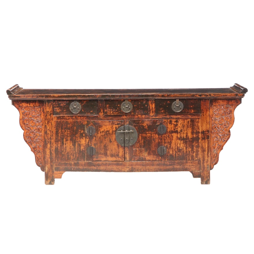Chinese Relief-Carved Elm and Pine Sideboard, Late 19th or Early 20th C.