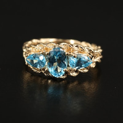 14K Topaz Ring with French Rope Design