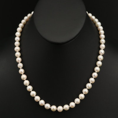 Pearl Necklace with 18K and 14K Clasp