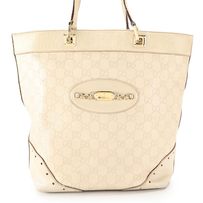 Gucci Punch Tote in Off-White Guccissima Leather