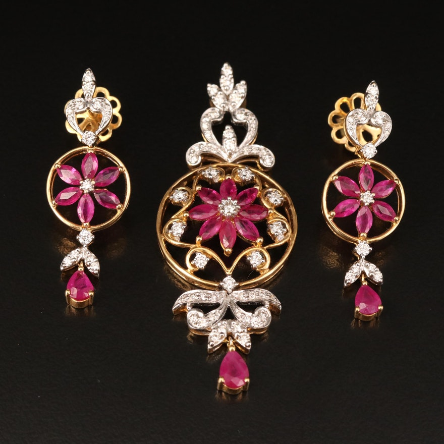 18K Ruby and 1.27 CTW Diamond Pendant and Earrings