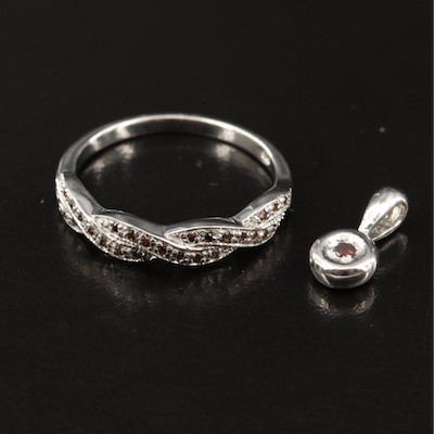 Sterling Silver Diamond Twist Band and Pendant