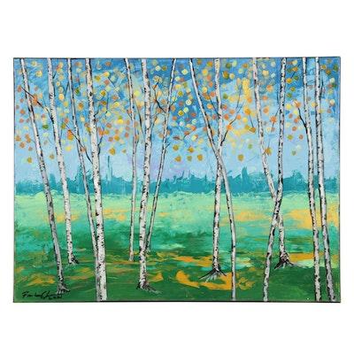 Farshad Lanjani Autumn Trees in Field Acrylic Painting, 2021