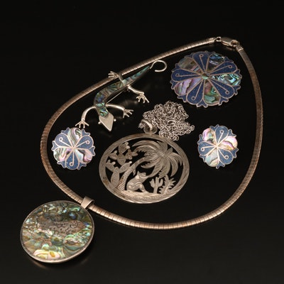 Sterling Jewelry Including Abalone and Taxco