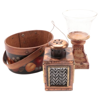 Shaker Style Bentwood Basket, Copper Lantern and Resin Candle Holder