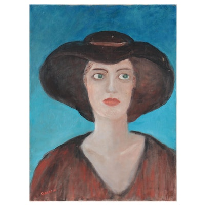 Naïve Style Acrylic Portrait of Woman in Hat, Late 20th Century