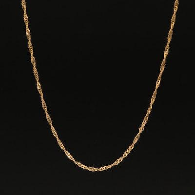14K Diamond Cut Rope Chain Necklace