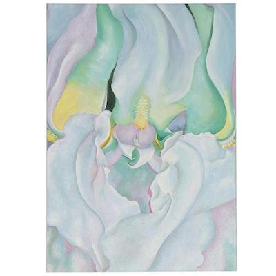 "Acrylic Painting After Georgia O'Keeffe ""White Iris,"" 21st Century"