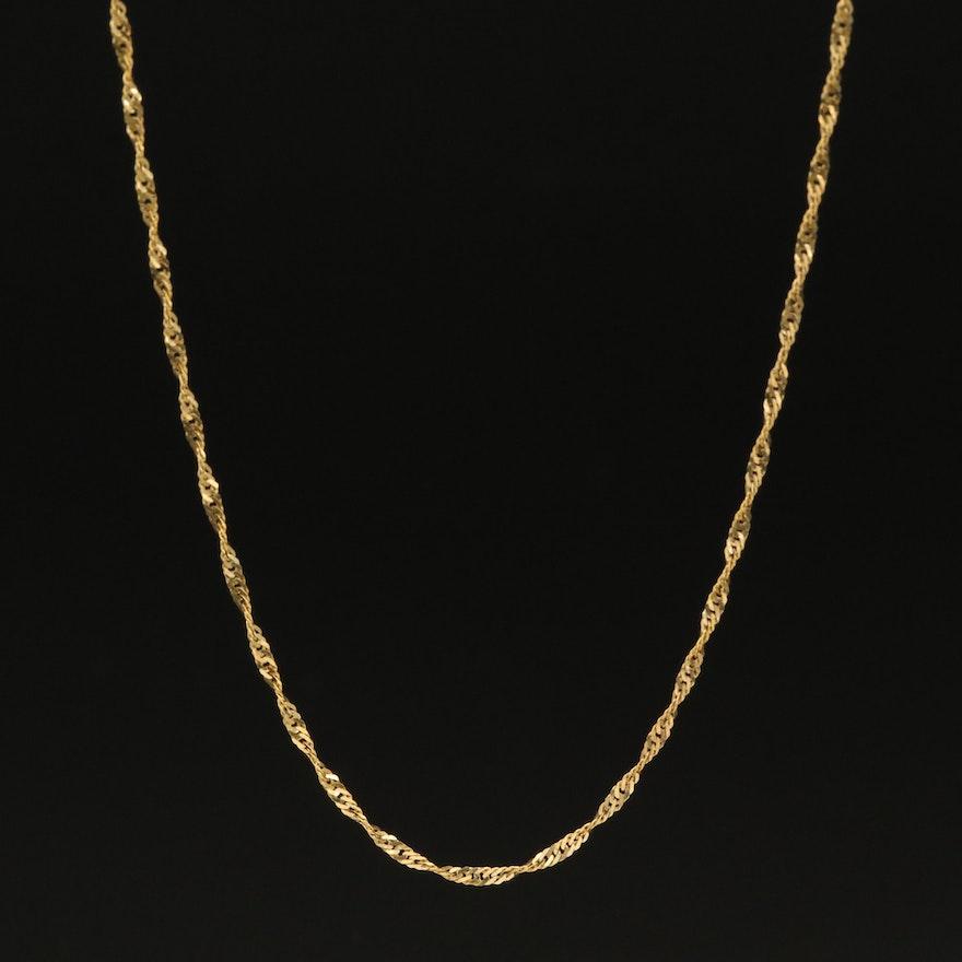 14K Diamond Cut Singapore Chain Necklace