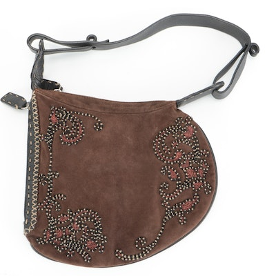 Fendi Selleria Embroidered Oyster Bag in Brown Suede with Grained Leather Trim