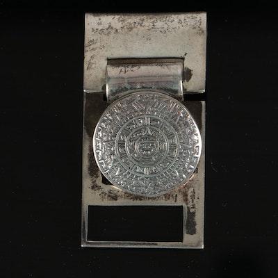 Mexican Sterling Silver Aztec Calendar Monogrammed Money Clip