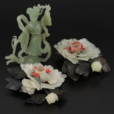 Chinese Peony Form Serpentine Candlesticks and Carved Female Figurine