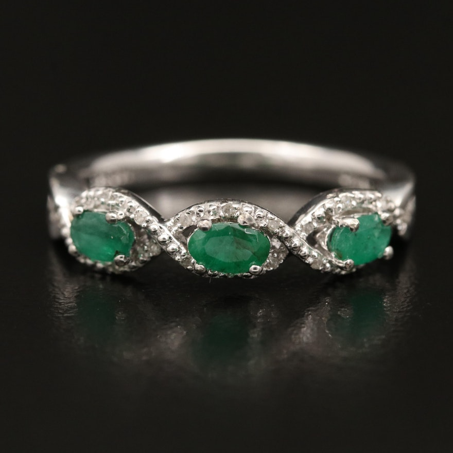 Sterling Silver Emerald Ring with Twisted Diamond Trim