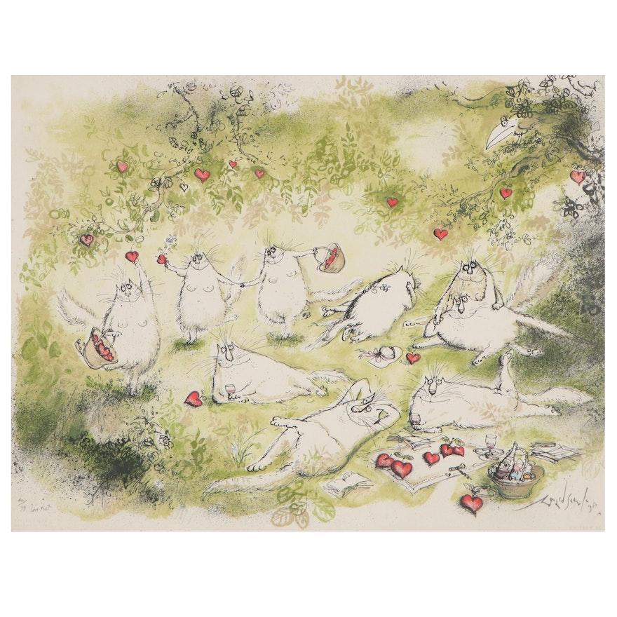 "Ronald Searle Color Lithograph ""Love Feast,"" 1981"