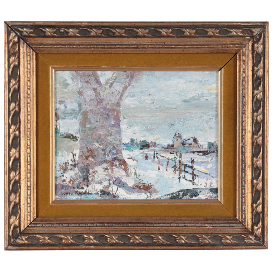 Louis Kabrin Winter Landscape Impasto Oil Painting, Late 20th Century