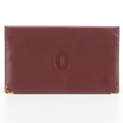 Cartier Les Must de Cartier Bifold Checkbook Wallet in Burgundy Leather with Box