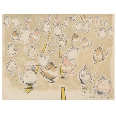 """Ronald Searle Color Lithograph """"Joggers,"""" 1979"""