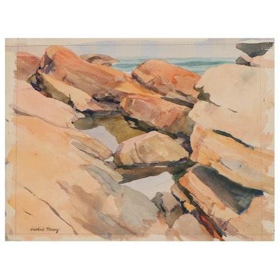 Winthrop Turney Coastal Landscape Watercolor Painting, 1947