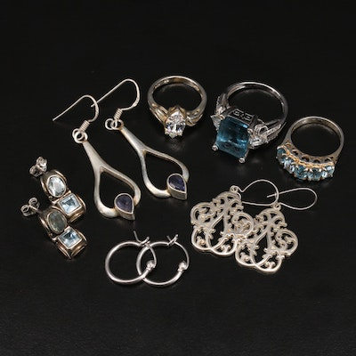 Sterling Silver Quartz, Topaz and Iolite Rings and Earrings