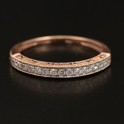 14K Diamond Band with Scrollwork and Milgrain Detail