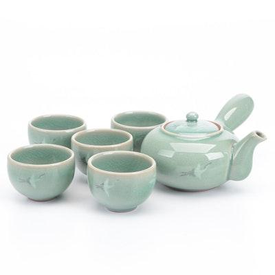Japanese Crane Motif Celadon-Glazed Porcelain Tea Set